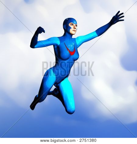 Generic Super Hero Woman In Blue Flying 1