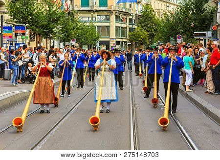Zurich, Switzerland - August 1, 2016: Participants Of The Parade Devoted To The Swiss National Day P