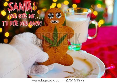 Bad Acid Trip. Santa Claus is having a bad Acid Trip. Gingerbread Man Cookie threatens Santa. Bad Cookie. Drug abuse. Hallucination on drugs. Christmas Drug Trip. Bad Sana.  food and drink.