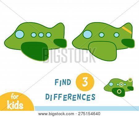 Find Differences, Education Game For Children, Airplane