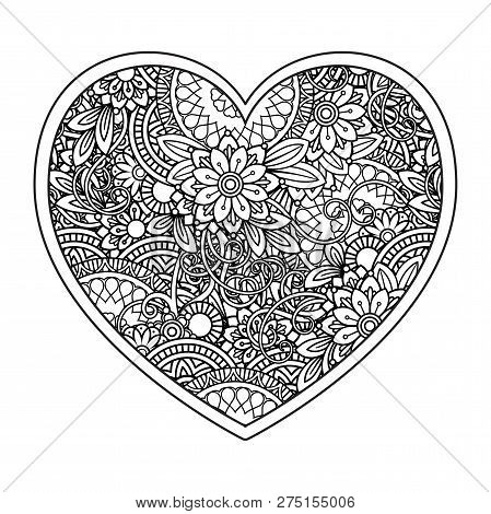 Heart With Floral Pattern. Valentines Day Adult Coloring Page. Vector Illustration. Isolated On Whit