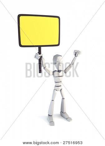 Strike of worker holding placard, 3d rendering