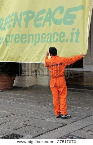 Action of Italian greenpeace in Genoa, Italy