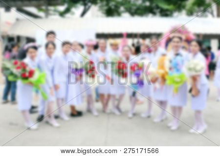 Blurred Of Nursing Students At The Graduation Ceremony In Congratulations Event, Nursing Students St