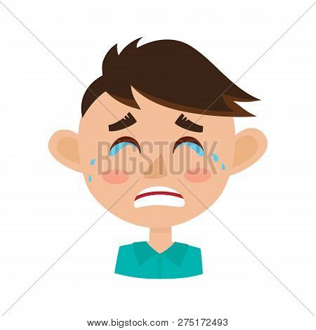 Little Boy Crying Face Expression, Cartoon Vector Illustration