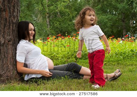 Pregnant woman with baby girl