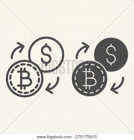 Bitcoin To Dollar Exchange Line And Glyph Icon. Cryptocurrency Exchange Vector Illustration Isolated