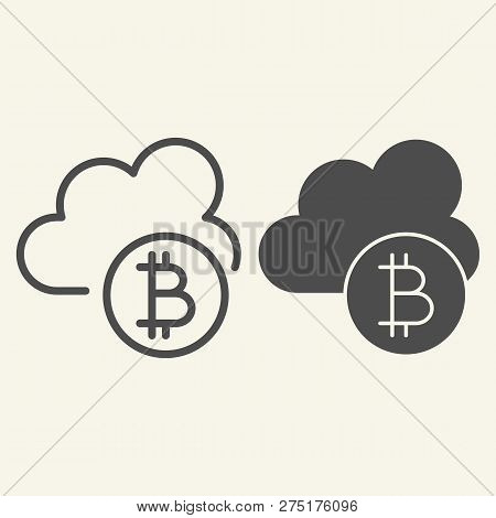 Cryptocurrency Cloud Line And Glyph Icon. Bitcoin And Cloud Vector Illustration Isolated On White. C