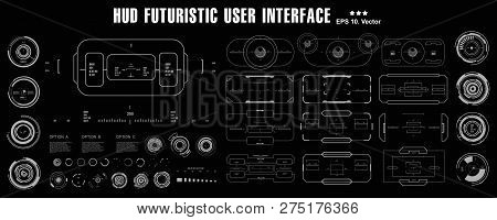 Futuristic Black And White Hud, Virtual Touch User Interface In Flat Design Virtual Reality Technolo