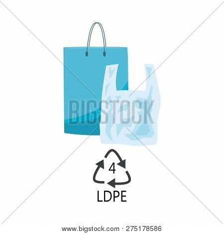 Ldpe 4 Plastic Type - Blue Polythene Shopping Bags With Handle With Recycle Triangle Arrow Sign.