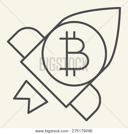 Bitcoin Launching Thin Line Icon. Cryptocurrency Rocket Vector Illustration Isolated On White. Crypt