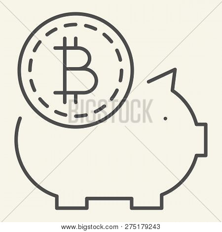 Saving Crypto Money Thin Line Icon. Bitcoin Piggy Bank Vector Illustration Isolated On White. Crypto