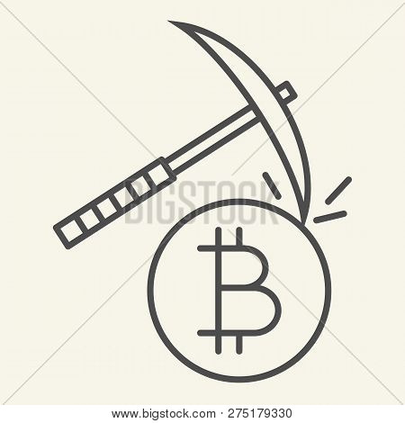 Cryptocurrency Mining Thin Line Icon. Crypto Pickaxe Vector Illustration Isolated On White. Bitcoin