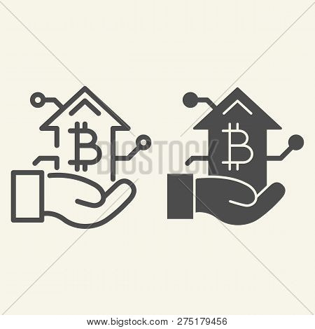 Bitcoin Growth Chart In Hand Line And Glyph Icon. Arm With Cryptocurrency Graph Vector Illustration