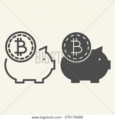 Saving Crypto Money Line And Glyph Icon. Bitcoin Piggy Bank Vector Illustration Isolated On White. C