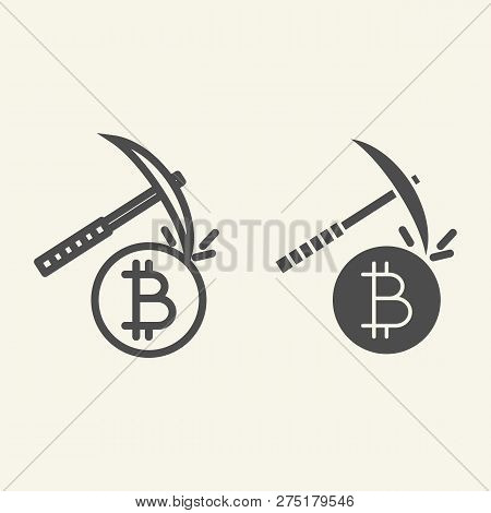 Cryptocurrency Mining Line And Glyph Icon. Crypto Pickaxe Vector Illustration Isolated On White. Bit