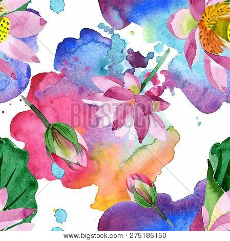 Purple Lotus. Floral Botanical Flower. Watercolor Background Illustration Set. Seamless Background P