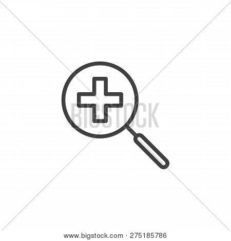 Zoom In Magnification Outline Icon. Linear Style Sign For Mobile Concept And Web Design. Magnifier W