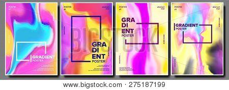 Gradient Fluid Poster Set Vector. Dynamic Layout. Digital Concept. Motion Backdrop. Commercial Cover