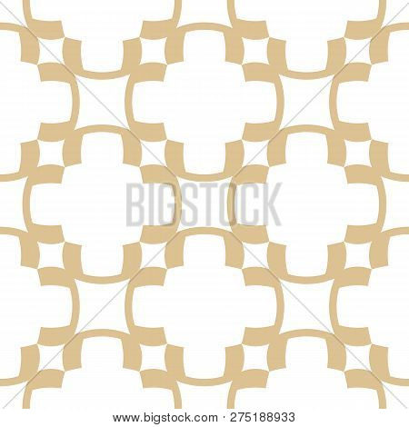 Golden Abstract Geometric Seamless Pattern In Oriental Style. Luxury Vector Background. Simple Graph