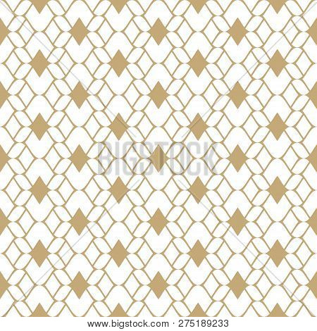 Golden Mesh Seamless Pattern. Subtle Vector Abstract Geometric Ornament Texture With Thin Curved Lin
