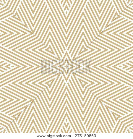 Vector Geometric Lines Seamless Pattern. Golden Linear Background With Stripes, Diagonal Lines, Tria
