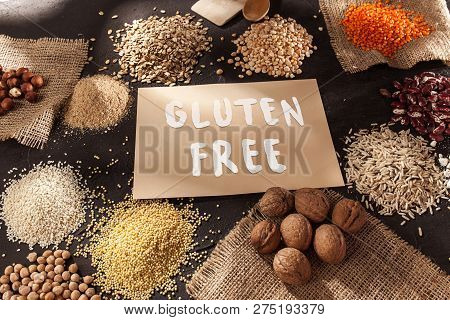 Gluten Free Flour And Cereals Millet, Quinoa, Corn Bread, Brown Buckwheat, Rice, Bread And Pasta Wit