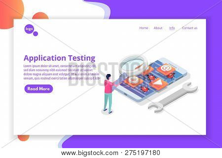 Mobile Application Development, Testing And Prototyping Process Isometric Vector. App Interface Buil