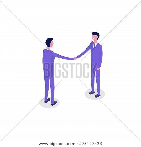 Business People Isometric Characters, Colleague. Teamwork And Partnership Concept. Flat Isometric Ve