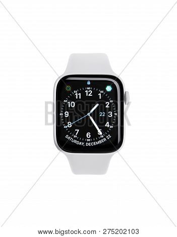 Uzhgorod, Ukraine - December 22, 2018: New Apple Watch 4, 44 Inches On A White Background. Apple Wat