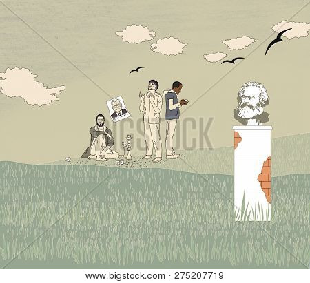 German socialism. A group of migrants resting on the field. Bust of Karl Marx on the background of a summer green field under the clouds looks at the migrants. Black birds over the fields. poster
