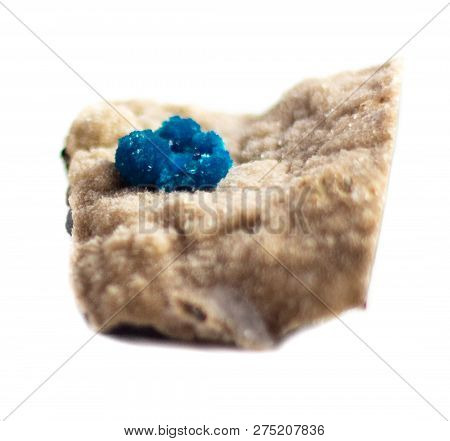 Natural Cluster Blue Cavansite On The Substrate On A White Background Isolated