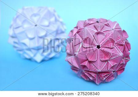 Modular Origami, Cherry Blossom, On Blue Background