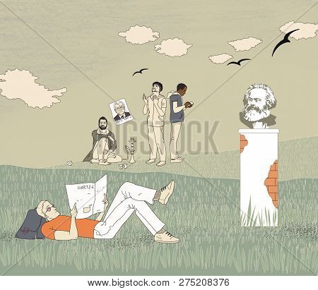 German socialism. An unemployed young man lying on the grass reading a newspaper. A group of migrants who slept on the field. Bust of Karl Marx on the background of a summer green field under the clouds looks at the migrants. Black birds over the fields. poster