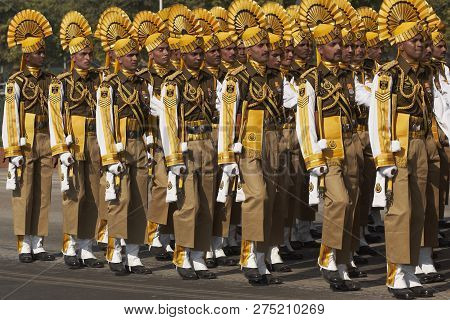 New Delhi, India - January 23, 2008: Soldiers In Bright Yellow Trimmed Uniform Parading Down The Raj