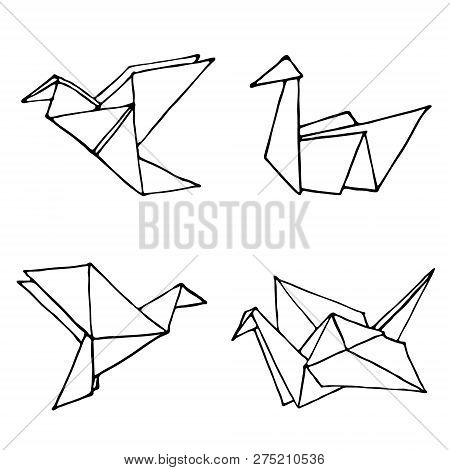 Origami Doodle Simple Set. Collection With Four Hand Drawn Origami Birds Crane, Swan, Colibri And Do