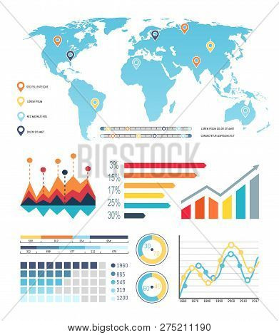 World Map With Diagrams, Worldwide Visualization Information Vector. Flowcharts And Location Areas O