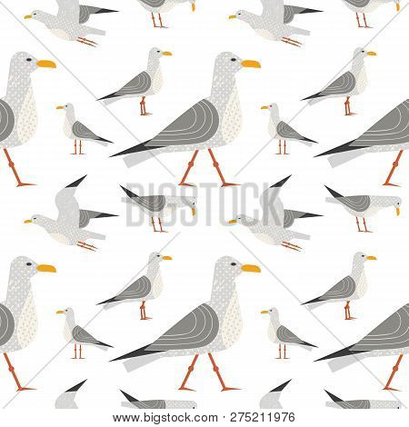 Cute hand drawn sea gull seamless pattern. Childlike flat vector background. Quirky seagulls sea life design element. Simple modern geometric style, textured shape illustration for fabric, wallpaper poster