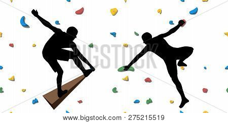 Black Silhouettes Of Climbers Who Climb On A Wall In A Climbing Gym Isolated On A White Background.
