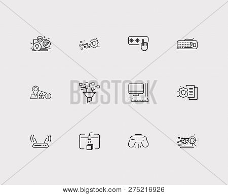 Hardware Icons Set. Steamroller And Hardware Icons With Computer Widget, Modem And Data Processing.