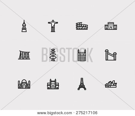 Travel Icons Set: Indonesia, India, Brasil And Skyscraper, Monument, Castle Set Popular Traveling Ci