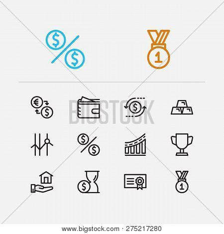 Investment icons set. Time money and investment icons with dividend, competition and bond. Set of sale for web app logo UI design. poster