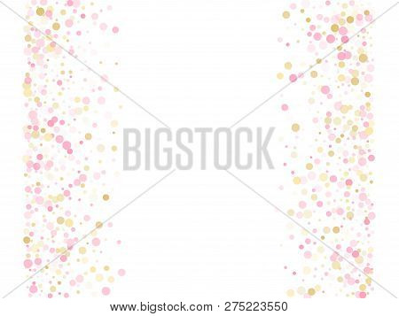 Rose Gold Confetti Circle Decoration For Party Invitation Card. Holiday Vector Illustration. Gold, P
