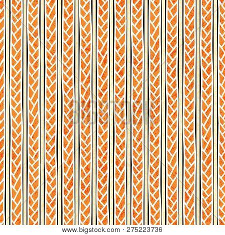 Braids Seamless Pattern. Grunge Texture. Vintage Striped Print For Textiles. Vector Illustration.