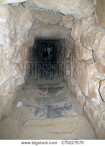 Europe, Greece, Mycenae, Descent Into The  Dungeon Where The Tank With Purified Water.
