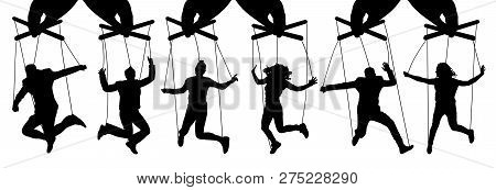 Hand Puppeteer. Manipulation Of People, Puppets. The Owner Controls The Subordinates. Isolated Set O