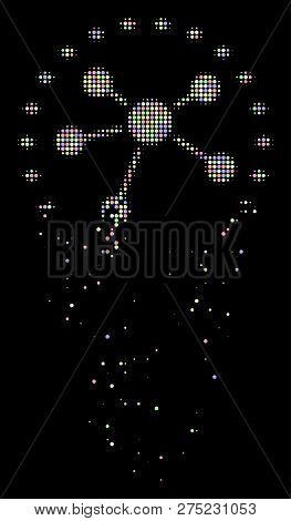 Dotted Links Diagram Icon With Dissipated Effect In Light Color Tints On A Black Background. Light R