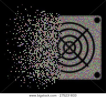 Mining Asic Device Icon With Disappearing Effect In Light Color Tints On A Black Background. Bright
