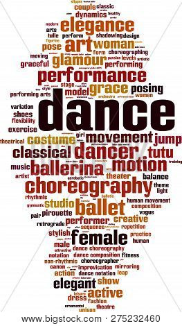 Dance Word Cloud Concept. Vector Illustration On White