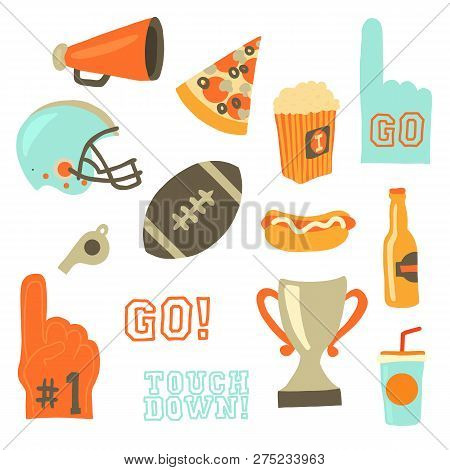 Super Bowl Party Vector Icon Set. Sport Games Celebration Icons. American Football Vintage Retro Sty